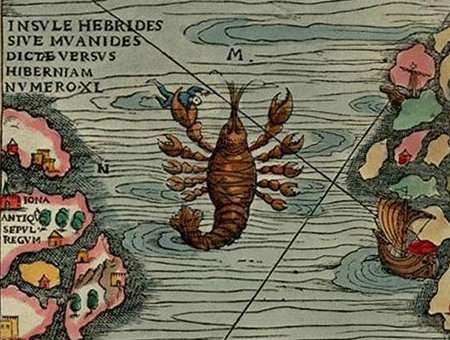 map monsters, lobster, medieval, Renaissance