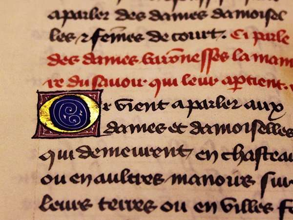 Image from medieval manuscript; Boston's Beyond Words exhibition