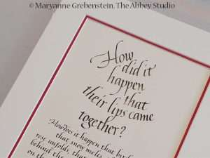 italic calligraphy; calligraphy; The Abbey Studio; Maryanne Grebenstein