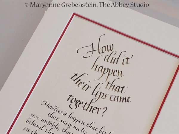 italic calligraphy; calligraphy; The Abbey Studio; Maryanne Grebenstein