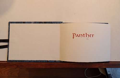 Manuscript, bestiary, calligraphy, The Abbey Studio, panther