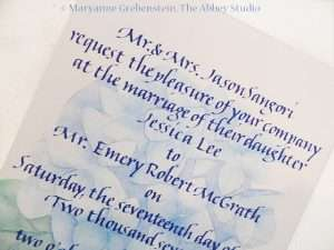 The Abbey Studio, Calligraphy, Maryanne Grebenstein
