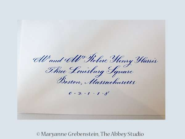 calligraphy, The Abbey Studio, envelope addressing