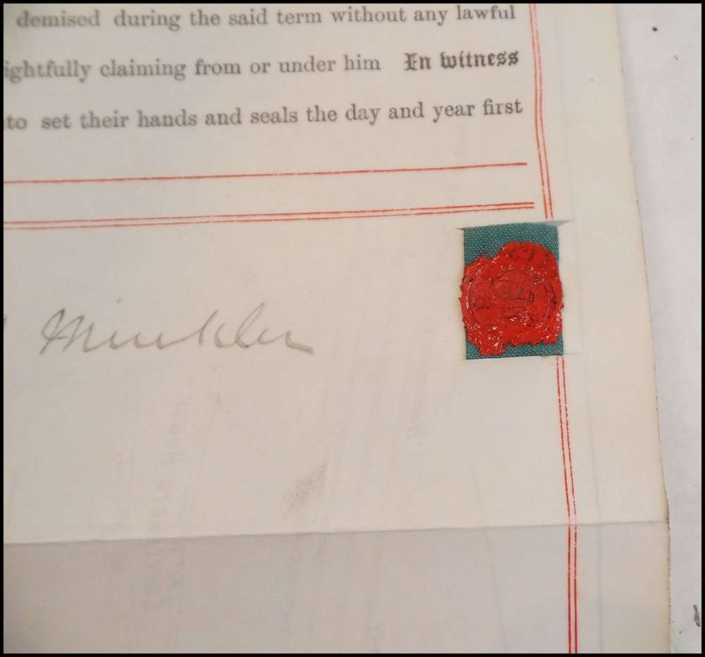 A 1904 document with a wax seal attached via ribbon; The Abbey Studio