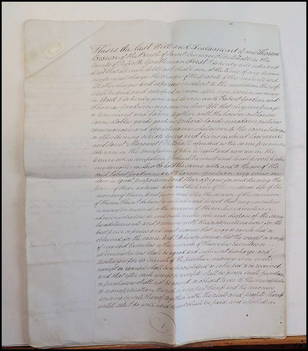 Document from 1819 written in Copperplate hand; The Abbey Studio