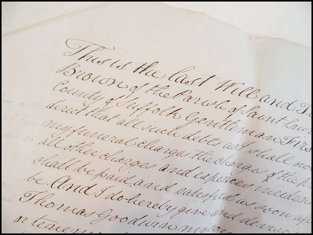 Close up of document from 1819 written in Copperplate hand; The Abbey Studio