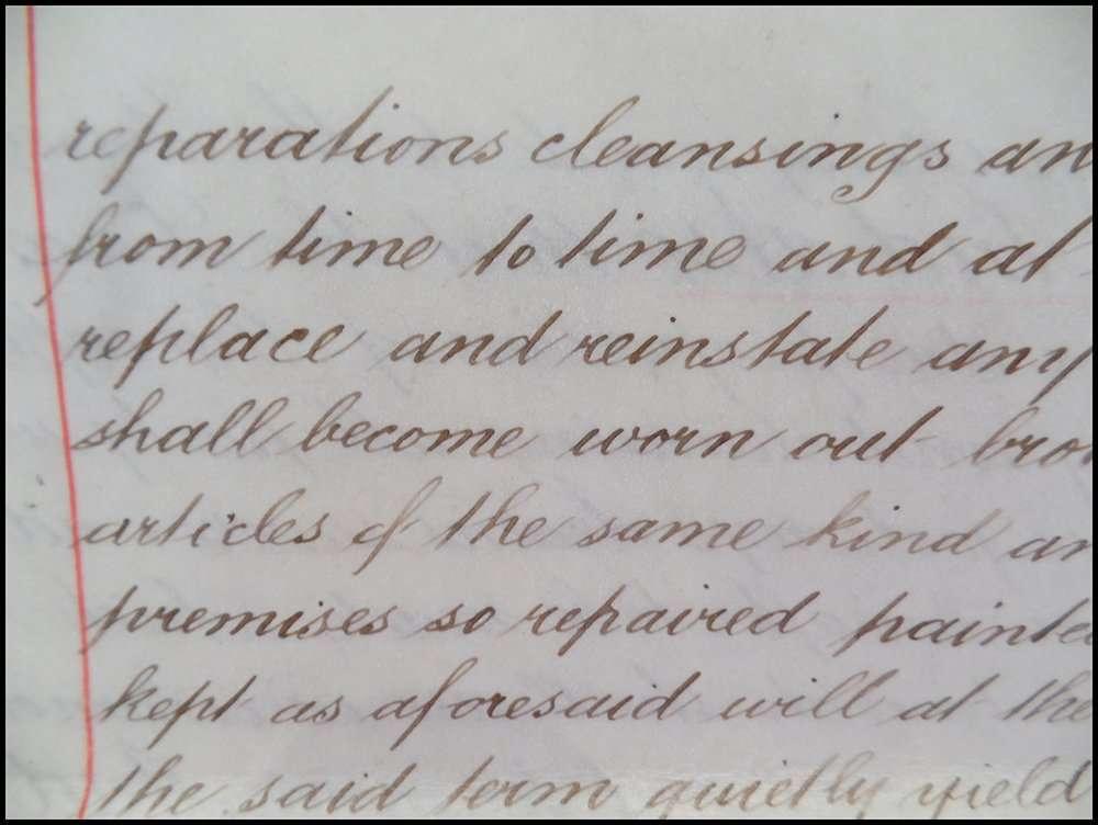 Close up of Copperplate script on calfskin vellum in 1889 document; The Abbey Studio