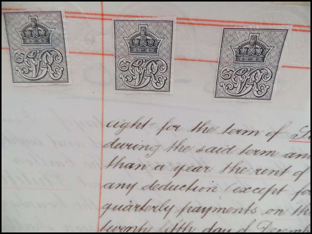 An 1889 document on vellum with embossed payment stamps; The Abbey Studio