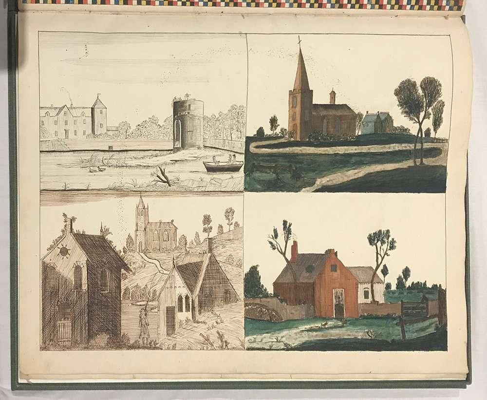 Landscape illustrations from Lydia Bishop manuscript, The Abbey Studio