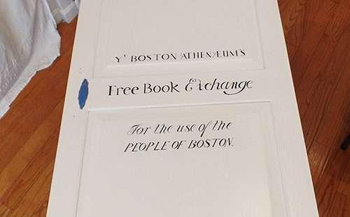 The Abbey Studio; calligraphy; blog; Lettering on door for Boston Athenaeum